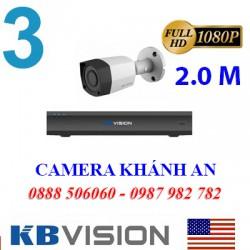 Trọn bộ 3 camera KBVISION 2.0MP CVI cho Xưởng,Nhà Máy,Cty,Văn phòng,Shop…