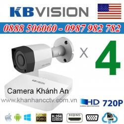 Trọn bộ 4 camera KBVISION 1.0MP CVI cho Gia đình,Cty,Văn phòng,Shop...