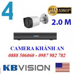 Trọn bộ 4 camera KBVISION 2.0MP CVI cho Xưởng,Nhà Máy,Cty,Văn phòng,Shop...