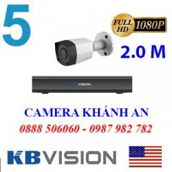 Trọn bộ 5 camera KBVISION 2.0MP CVI cho Xưởng,Nhà Máy,Cty,Văn phòng,Shop...