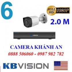 Trọn bộ 6 camera KBVISION 2.0MP TVI cho Xưởng,Nhà Máy,Cty,Văn phòng,Shop...