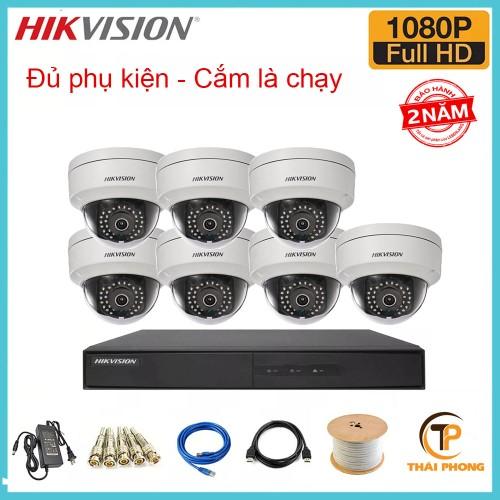 Bộ trọn gói  7 camera HIKVISION giá rẻ 2.0 MP, đại lý, phân phối,mua bán, lắp đặt giá rẻ