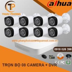 Trọn bộ 8 camera DAHUA 2.0MP CVI cho Xưởng,Nhà Máy,Cty,Văn phòng,Shop...