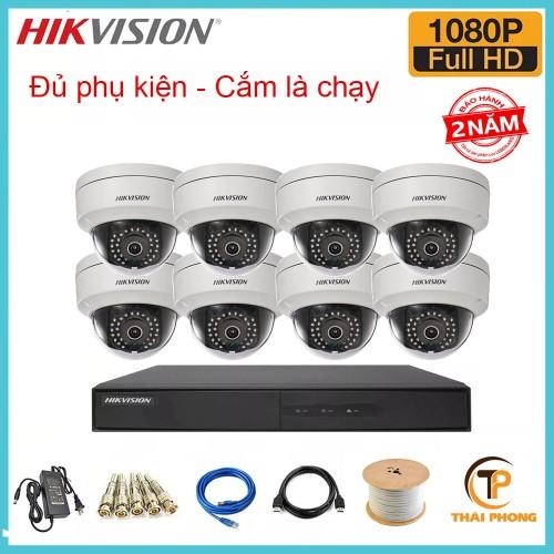 Bán trọn gói 8 camera HIKVISION giá rẻ 2.0 MP, đại lý, phân phối,mua bán, lắp đặt giá rẻ