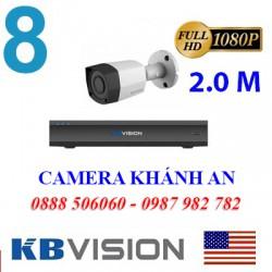 Trọn bộ 8 camera KBVISION 2.0MP TVI cho Xưởng,Nhà Máy,Cty,Văn phòng,Shop...