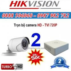 Trọn bộ 2 camera HIKVISION 1.0MP TVI cho Gia đình,Cty,Văn phòng,Shop...