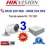 Trọn bộ 3 camera HIKVISION 1.0MP TVI cho Gia đình,Cty,Văn phòng,Shop...