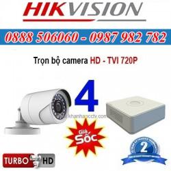 Trọn bộ 4 camera HIKVISION 1.0MP TVI cho Gia đình,Cty,Văn phòng,Shop...