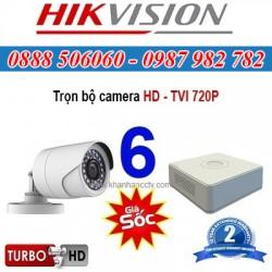 Trọn bộ 6 camera HIKVISION 1.0MP TVI cho Gia đình,Cty,Văn phòng,Shop...
