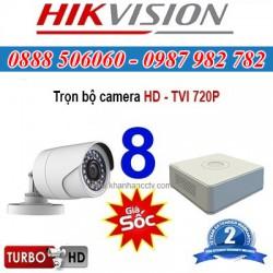 Trọn bộ 8 camera HIKVISION 1.0MP TVI cho Gia đình,Cty,Văn phòng,Shop...