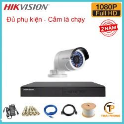 Trọn bộ 1 camera HIKVISION 2.0MP TVI cho Gia đình,Cty,Văn phòng,Shop...