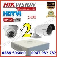 Trọn bộ 2 camera HIKVISION 2.0MP TVI cho Gia đình,Cty,Văn phòng,Shop...