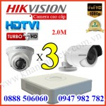 Trọn bộ 3 camera HIKVISION 2.0MP TVI cho Gia đình,Cty,Văn phòng,Shop...