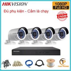 Trọn bộ 4 camera HIKVISION 2.0MP TVI cho Gia đình,Cty,Văn phòng,Shop...
