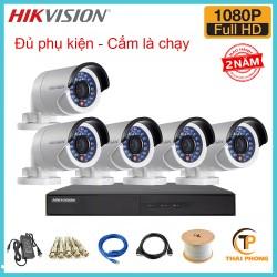 Trọn bộ 5 camera HIKVISION 2.0MP TVI cho Gia đình,Cty,Văn phòng,Shop...
