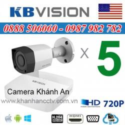 Trọn bộ 5 camera KBVISION 1.0MP CVI cho Xưởng,Nhà Máy,Cty,Văn phòng,Shop...
