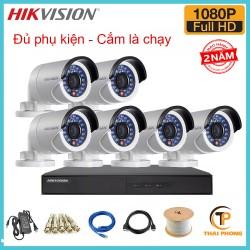 Trọn bộ 6 camera HIKVISION 2.0MP TVI cho Gia đình,Cty,Văn phòng,Shop...