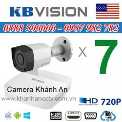 Trọn bộ 7 camera KBVISION 1.0MP CVI cho Xưởng,Nhà Máy,Cty,Văn phòng,Shop...