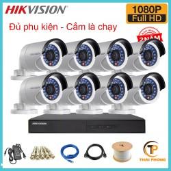 Trọn bộ 8 camera HIKVISION 2.0MP TVI cho Gia đình,Cty,Văn phòng,Shop...