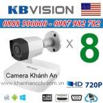 Trọn bộ 8 camera KBVISION 1.0MP TVI cho Xưởng,Nhà Máy,Cty,Văn phòng,Shop...