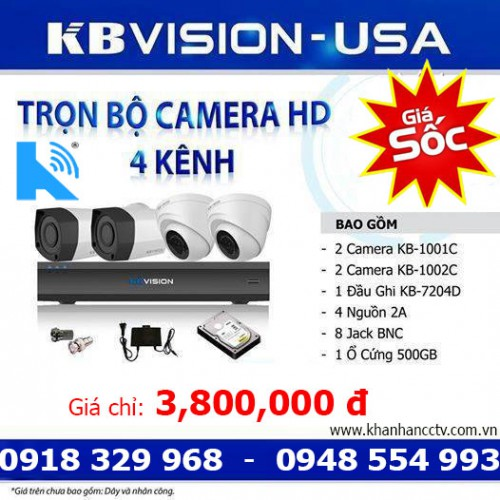 Báo giá lắp đặt camera quan sát trọn bộ gồm các gói 2 camera, 3 camera, 4 camera, 5 camera