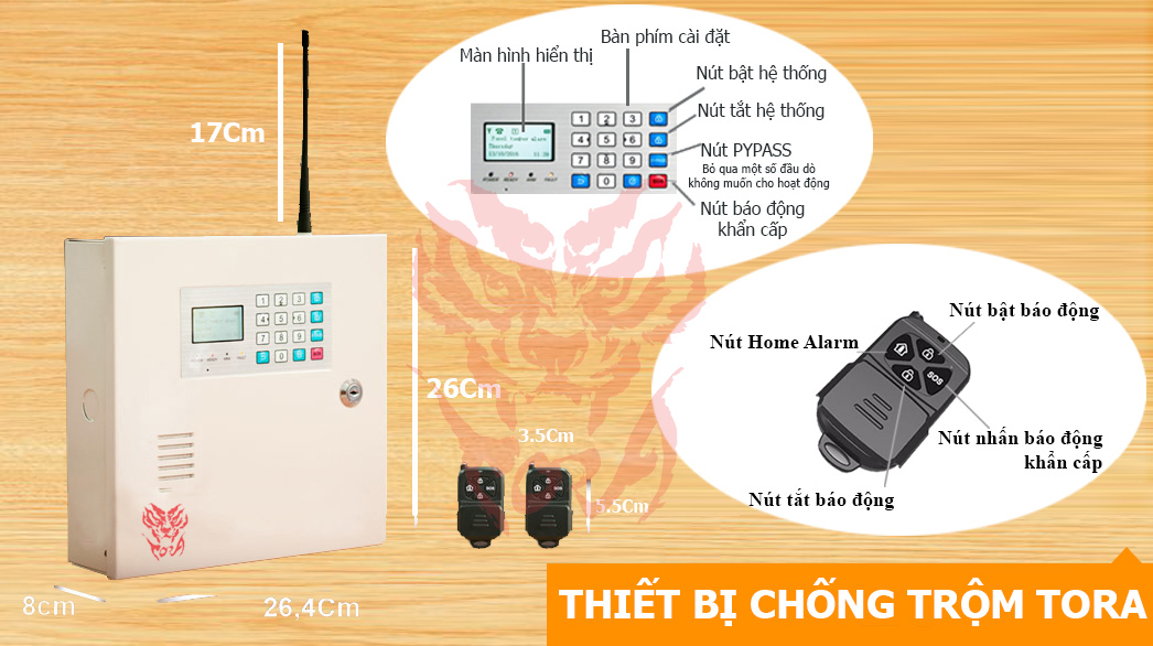 tính năng cơ bản của Thiết bị chống trộm TORA AL-858GSM dùng SIM điện thoại