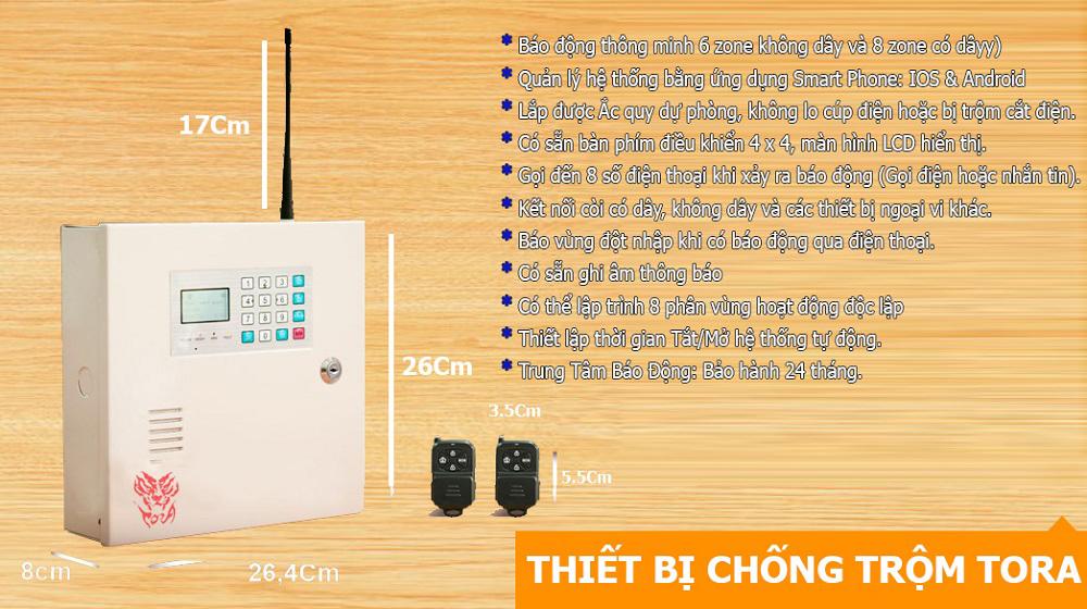 Thiết bị chống trộm TORA AL-858GSM dùng SIM điện thoại bao gồm những tính năng nổi bật nào ?