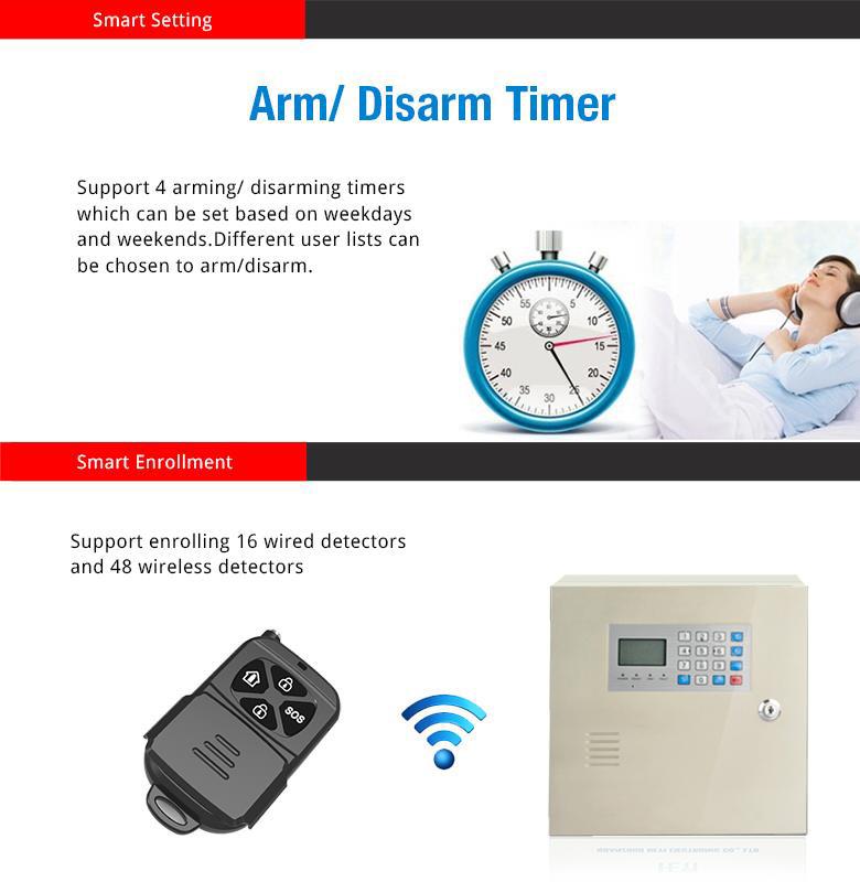 tủ báo động trung tâm qua điện thoại Wireless Wired Industrial Burglar Alarm GSM GPRS Module Built-in Network Home Burglar Alarm System