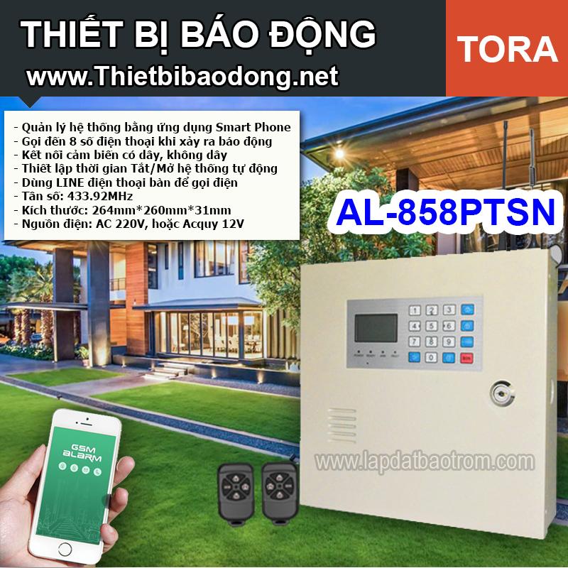 Thiết bị chống trộm AL-858PTSN dùng line điện thoại, đại lý, phân phối,mua bán, lắp đặt giá rẻ