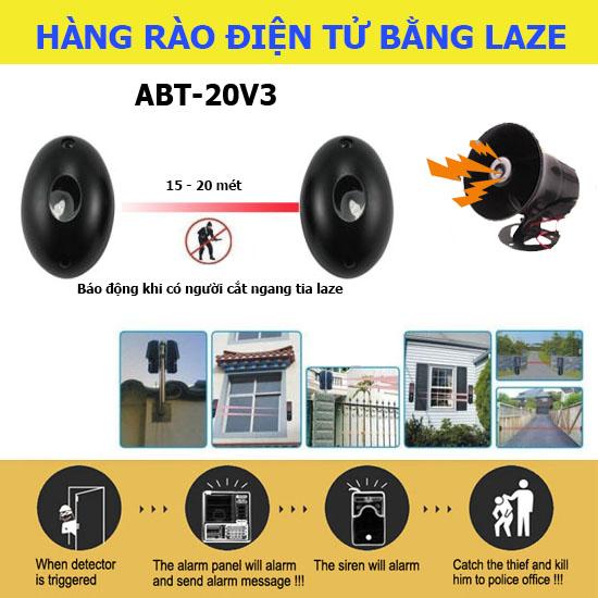 Bộ báo trộm chống leo hàng rào bằng tia laze ABT-20V2, 20 mét, tiếng hú lớn, đại lý, phân phối,mua bán, lắp đặt giá rẻ