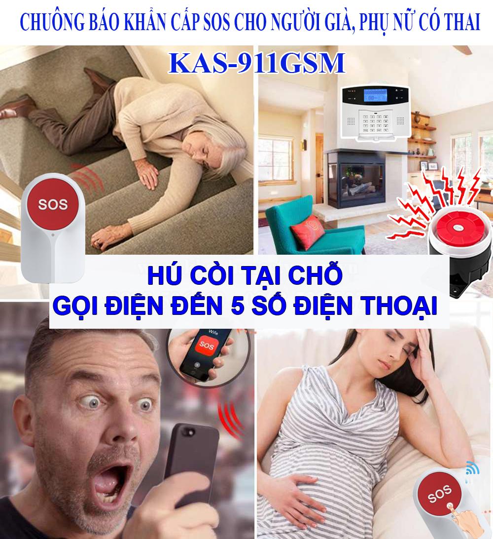 Chuông báo khẩn cấp SOS cho người già KAS-911GSM qua điện thoại (dùng SIM), đại lý, phân phối,mua bán, lắp đặt giá rẻ