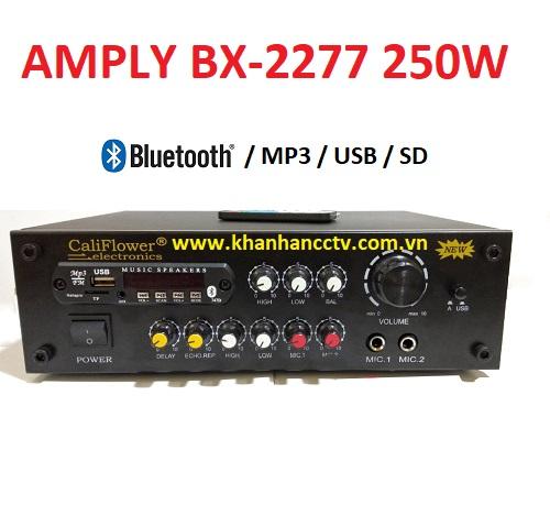 Ampli tăng âm công suất 250W BX-2277 (Blustooth, thẻ nớ, USB), đại lý, phân phối,mua bán, lắp đặt giá rẻ