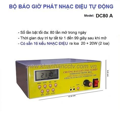 Bộ phát nhạc điệu tự động DC80A, 16 kiểu nhạc báo giờ, đại lý, phân phối,mua bán, lắp đặt giá rẻ