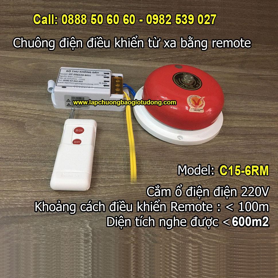 Chuông điện điều khiển từ xa bằng remote C15-6RM, độ vang < 600m2, đại lý, phân phối,mua bán, lắp đặt giá rẻ