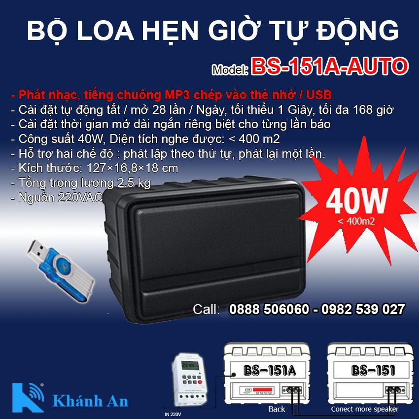 Loa phát nhạc tự động BS-151A-AUTO hẹn báo giờ, thư giãn, giải trí, đại lý, phân phối,mua bán, lắp đặt giá rẻ