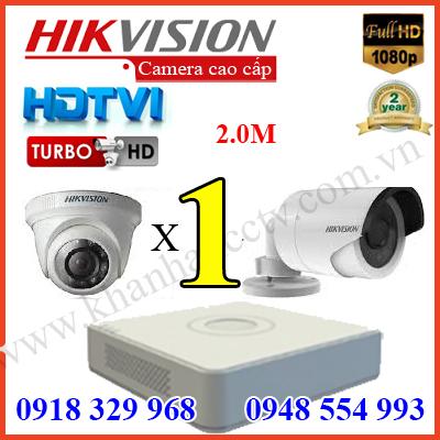 báo giá lắp đặt trọn gói bộ 1 camera hd tvi hikvision 2m 1080P cao cấp tại tp hcm