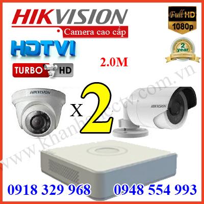 báo giá Trọn bộ camera trọn gói bộ 2 camera hd tvi hikvision 2m 1080P cao cấp tại tp hcm