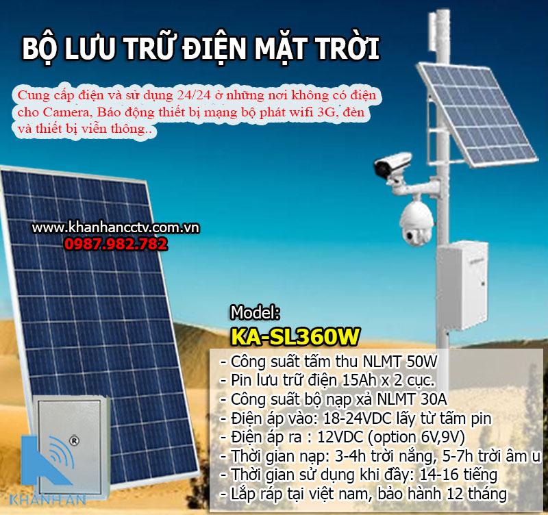 Bộ lưu trữ điện năng lượng mặt trời cho camera SL-KA360W công suất 360W, đại lý, phân phối,mua bán, lắp đặt giá rẻ