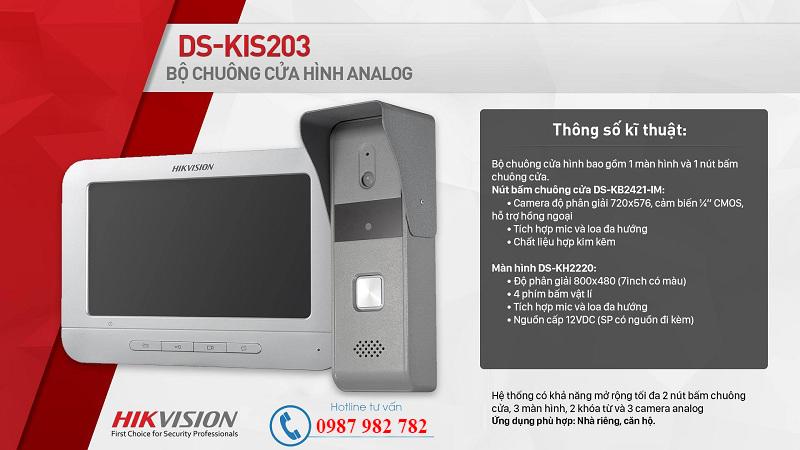 Bộ chuông cửa có hình Analog Hikvision DS-KIS203