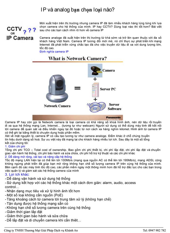Sự khác nhau giữa Camera IP và Camera Analog 1