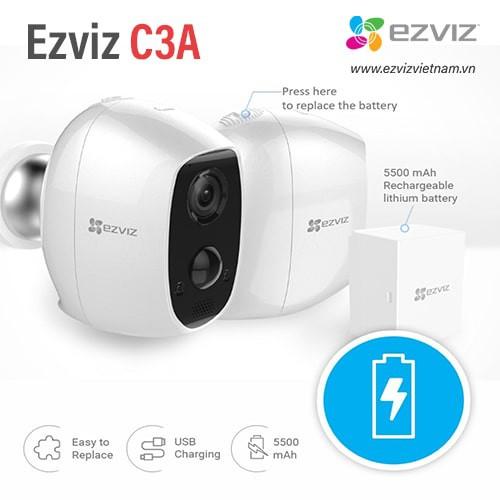 Camera EZVIZ C3A không dây dùng PIN xạc CS-C3A-A0-1C2WPMFBR , đại lý, phân phối,mua bán, lắp đặt giá rẻ