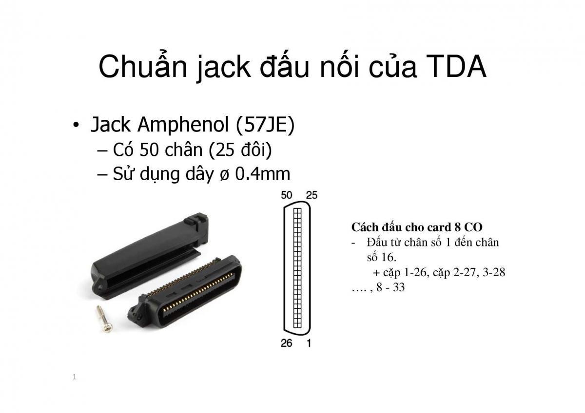 Cách đấu nối cáp với Jack RJ57 của tổng đài KX-TDA và KX-TDE