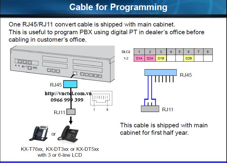 Sơ đồ đấu nối tín hiệu cho máy thuê bao số tổng đài Panasonic KX-NS300