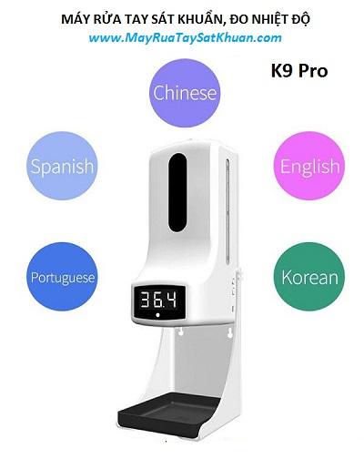 Máy xịt phun rửa tay khử khuẩn tự động kết hợp đo thân nhiệt K9 Pro, đại lý, phân phối,mua bán, lắp đặt giá rẻ