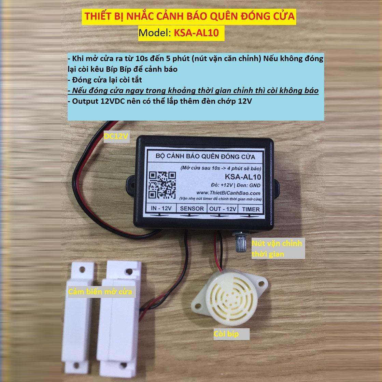 Còi hú + Đèn cảnh báo trạng thái đóng mở cửa KSA AL10dùng để kiểm soát và đảm bảo cửa của bạn luôn được đóng