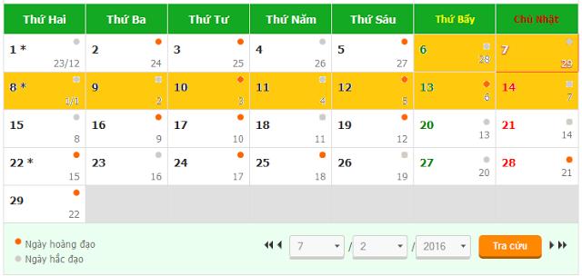 Tết 2016 ngày mấy dương lịch, Tết 2016 được nghỉ mấy ngày