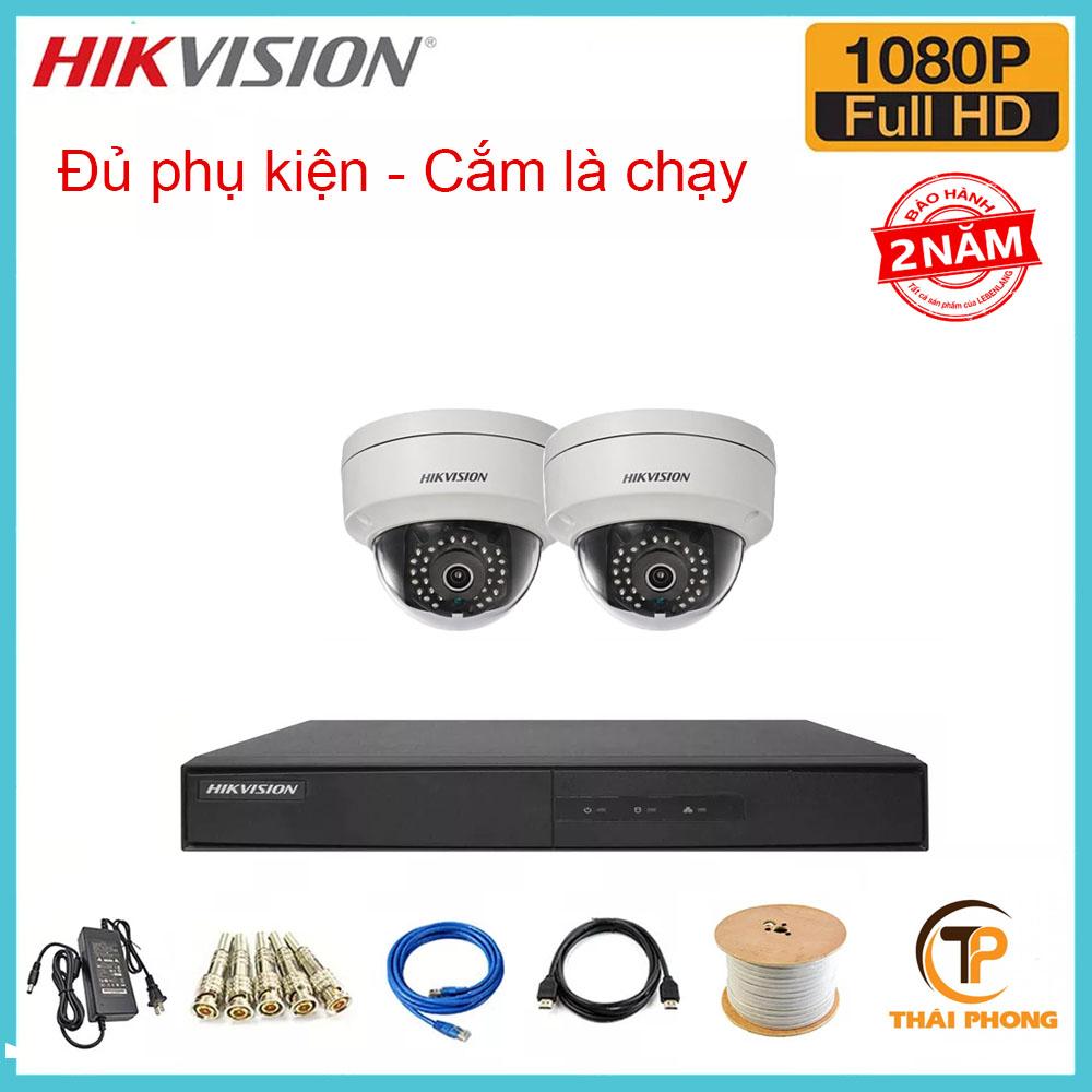 Bộ trọn gói  2 camera HIKVISION giá rẻ 2.0 MP, đại lý, phân phối,mua bán, lắp đặt giá rẻ
