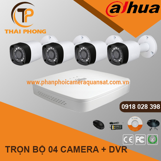 Trọn bộ 4 camera DAHUA 2.0MP CVI cho Gia đình,Cty,Văn phòng,Shop..., đại lý, phân phối,mua bán, lắp đặt giá rẻ