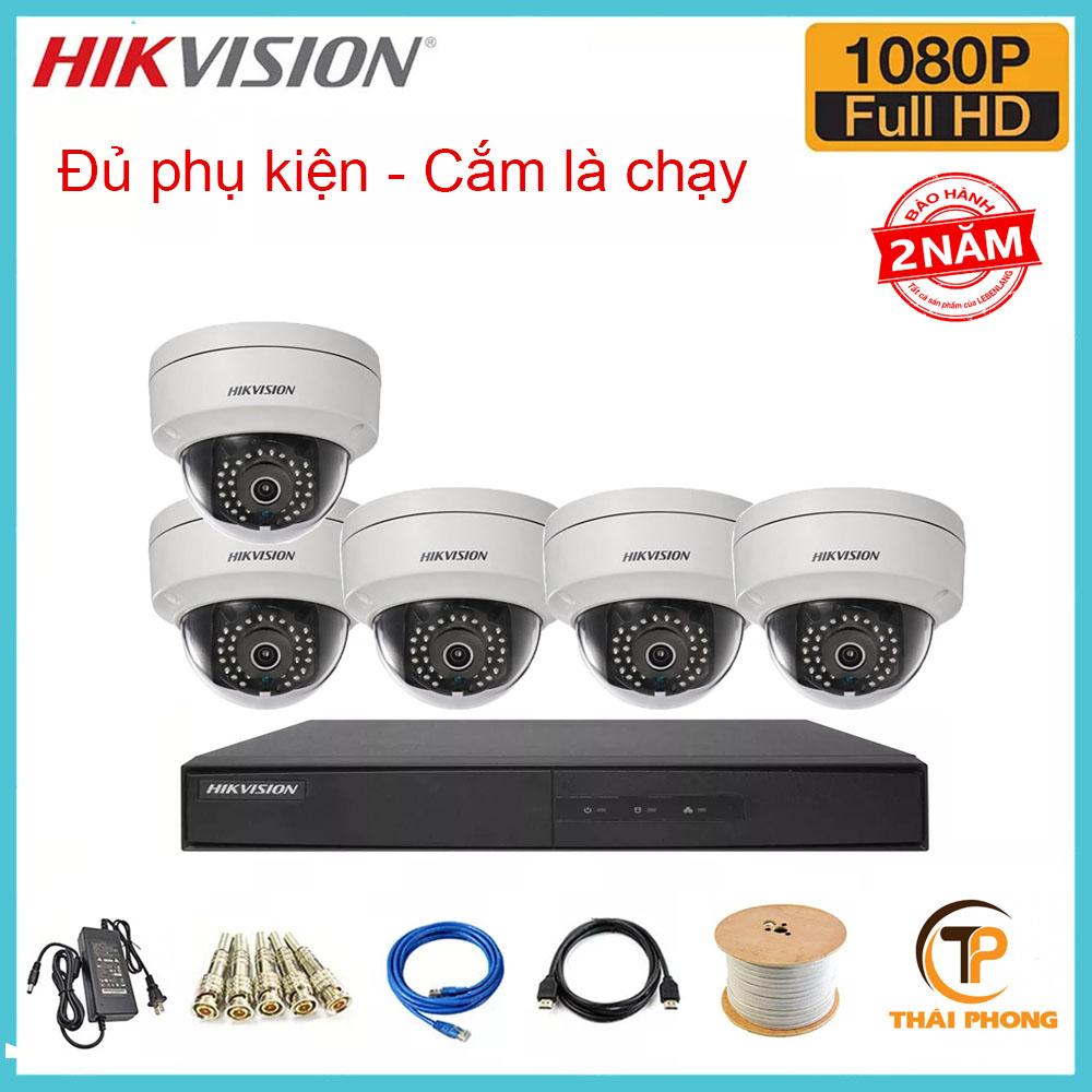 Bộ trọn gói  5 camera HIKVISION giá rẻ 2.0 MP, đại lý, phân phối,mua bán, lắp đặt giá rẻ