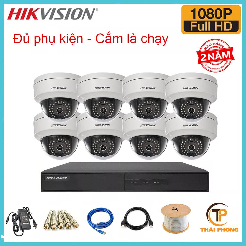 Bộ trọn gói  8 camera HIKVISION giá rẻ 2.0 MP, đại lý, phân phối,mua bán, lắp đặt giá rẻ